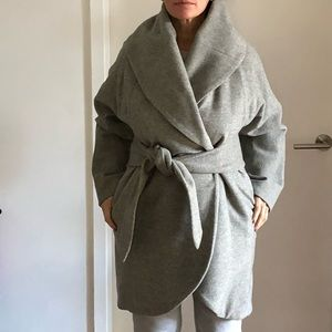 MARA HOFFMAN  grey wool wrap coat